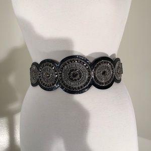 Chico's black leather belt; decorative front; M/L